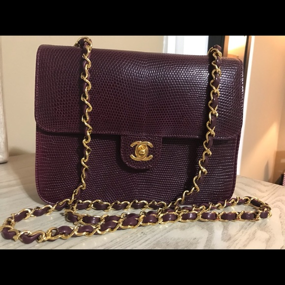 886f9b9a3b95 CHANEL Handbags - Vintage Chanel Burgundy Lizard Single Flap Bag